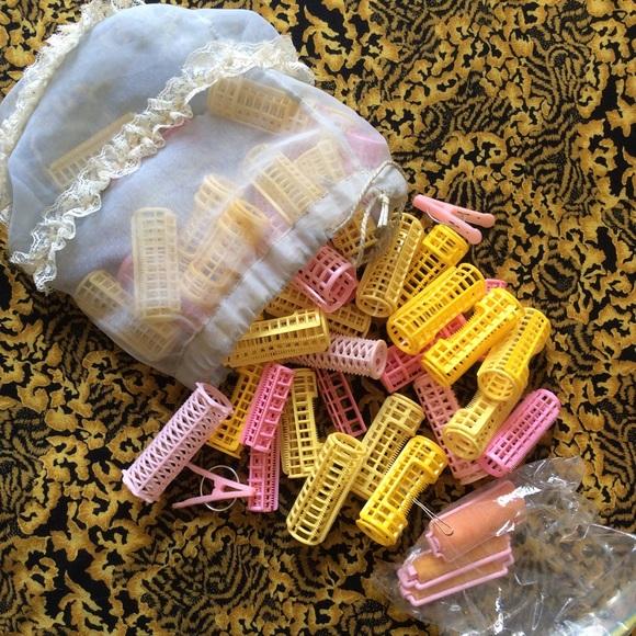 Vintage Accessories - Vintage Hair Curlers, clips & lace baggie